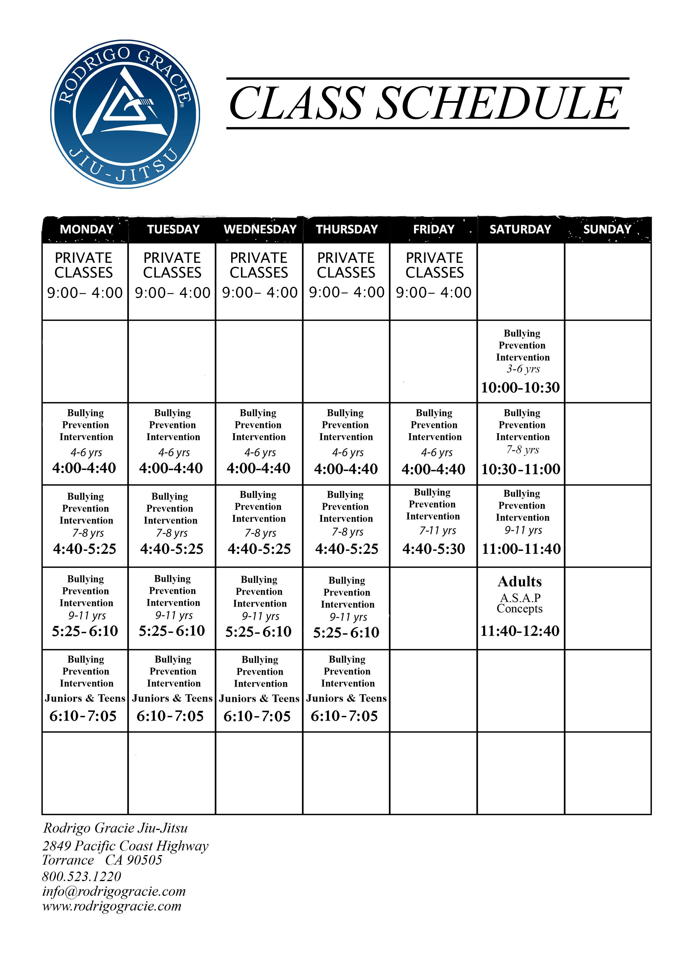 Schedule Sept